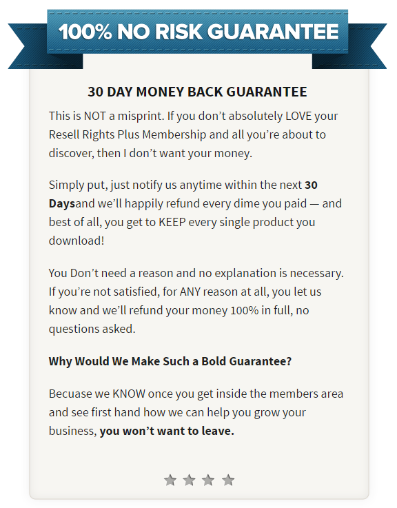 Resell Rights Plus Money Back Guarantee