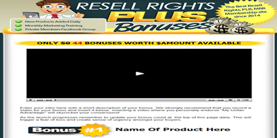 Resell Rights Plus Bonus Template